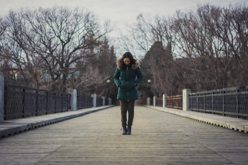 model, winter, bridge, pose, jacket, coat, green, spring, woman, girl, brunette,, toronto