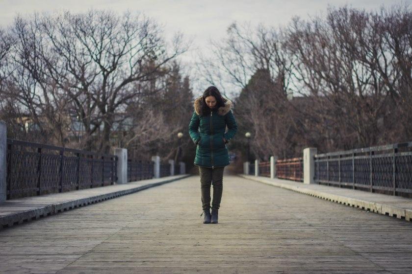 model, winter, bridge, pose, jacket, coat, green, spring, woman, girl, brunette,, toronto