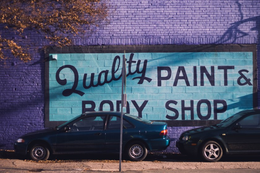 durham, north carolina, auto, car, paint, body shop, street, city, urban, purple