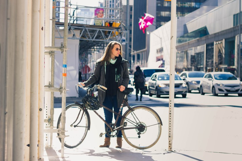 Toronto, Yonge Street, Woman, Bike, Cycling, Bloor Street
