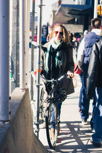Woman, Walk, Cycle, Cyclist, Bike, Toronto, Construction