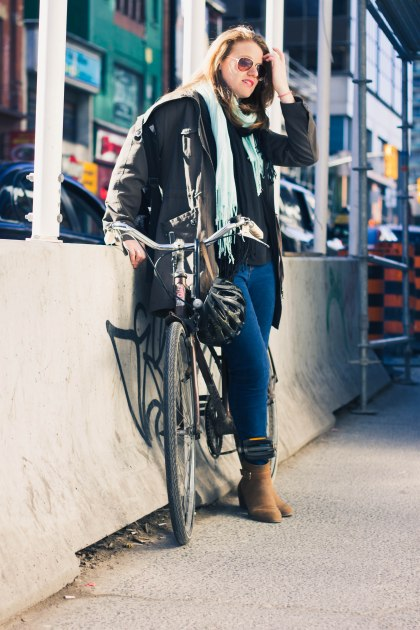 Woman, Bike, Cement, Construction, Street, Toronto