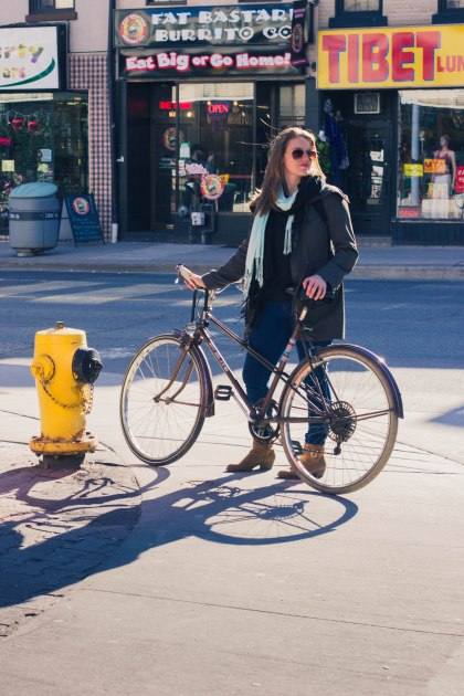 Woman, Bike, Street, Cyclist, Toronto, Fire Hydrant