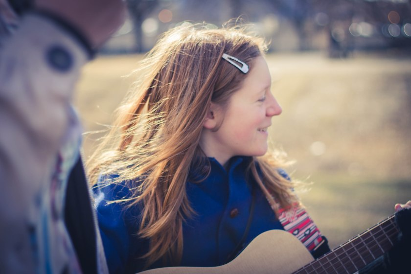 girl, music, guitar, portrait
