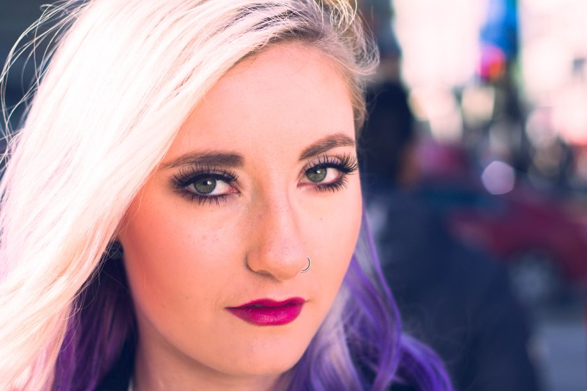 Toronto, model, purple hair, eyes, pose, portrait