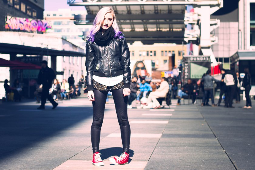 Toronto, yonge-dundas square, model, purple hair, pose, portrait,