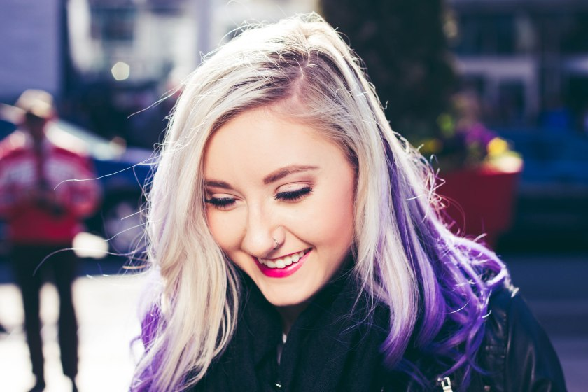 Toronto, model, purple hair, eyes, pose, portrait, smile