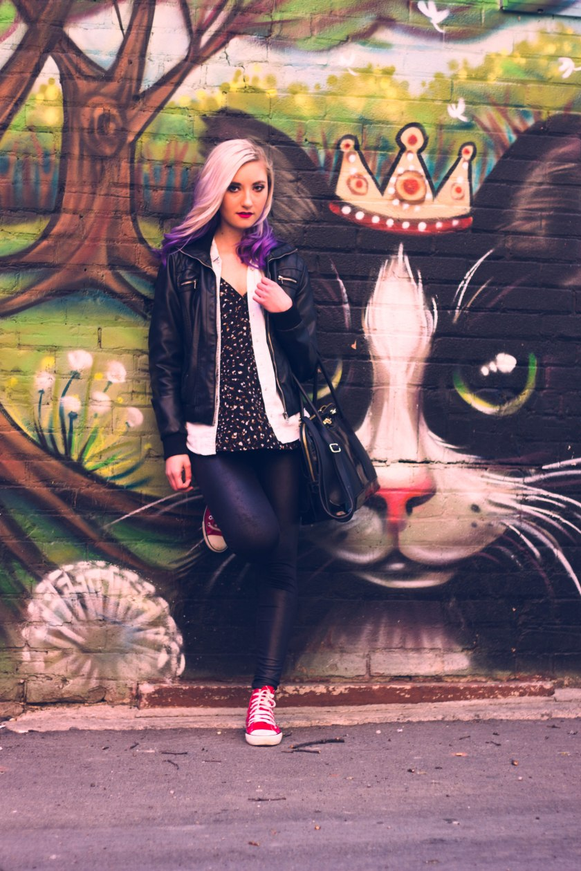 Toronto, model, purple hair, eyes, pose, portrait, cat, graffiti