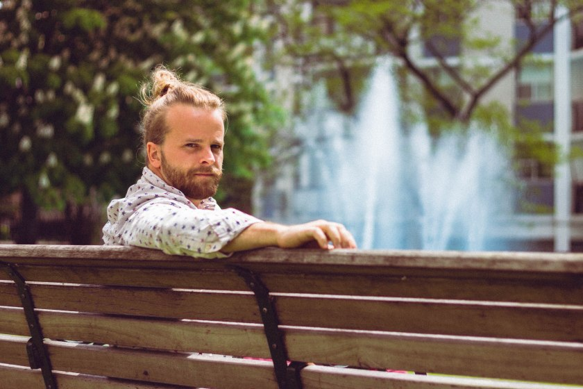 man, bench, pose, portrait, fashion, toronto, fountain