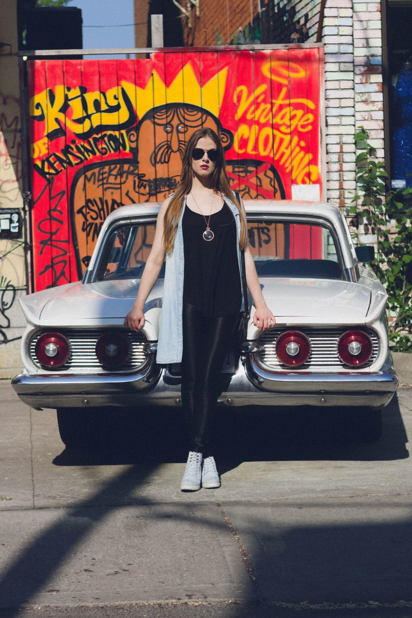 model, toronto, kensington market, fashion, car, sunglasses, portrait