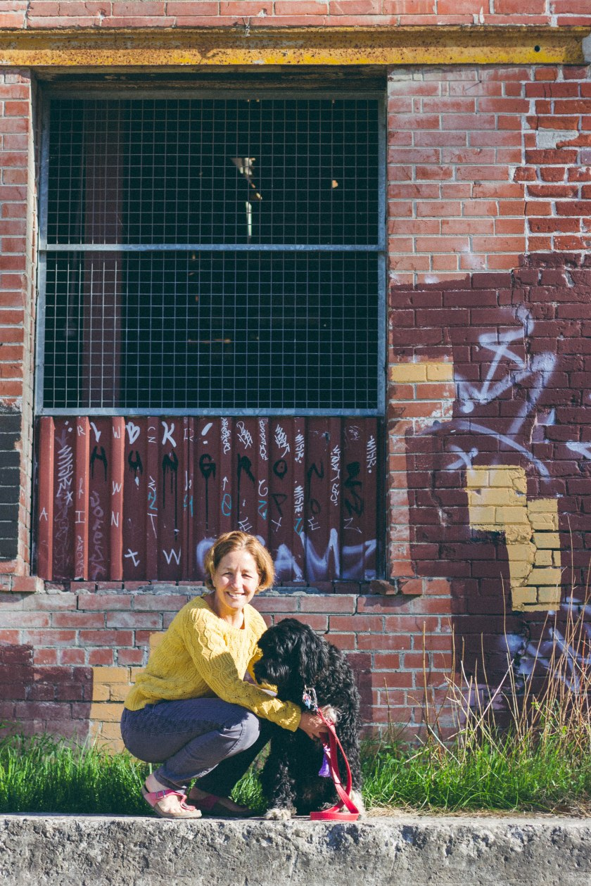 woman, dog, happy, brickworks, brick