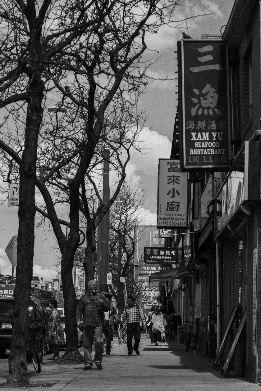 Toronto, downtown, black and white, bw, Chinatown, Spadina.