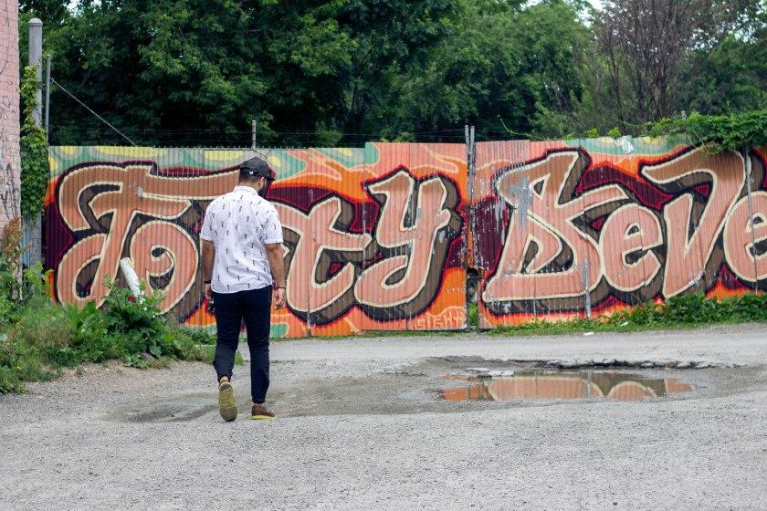 man, walk, look, graffiti