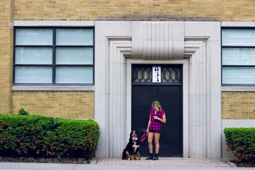 Portrait, Woman, Toronto, King Street, Liberty Village, dog