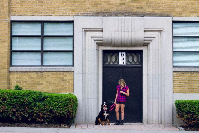 Portrait, Woman, Toronto, King Street, Liberty Village, dog