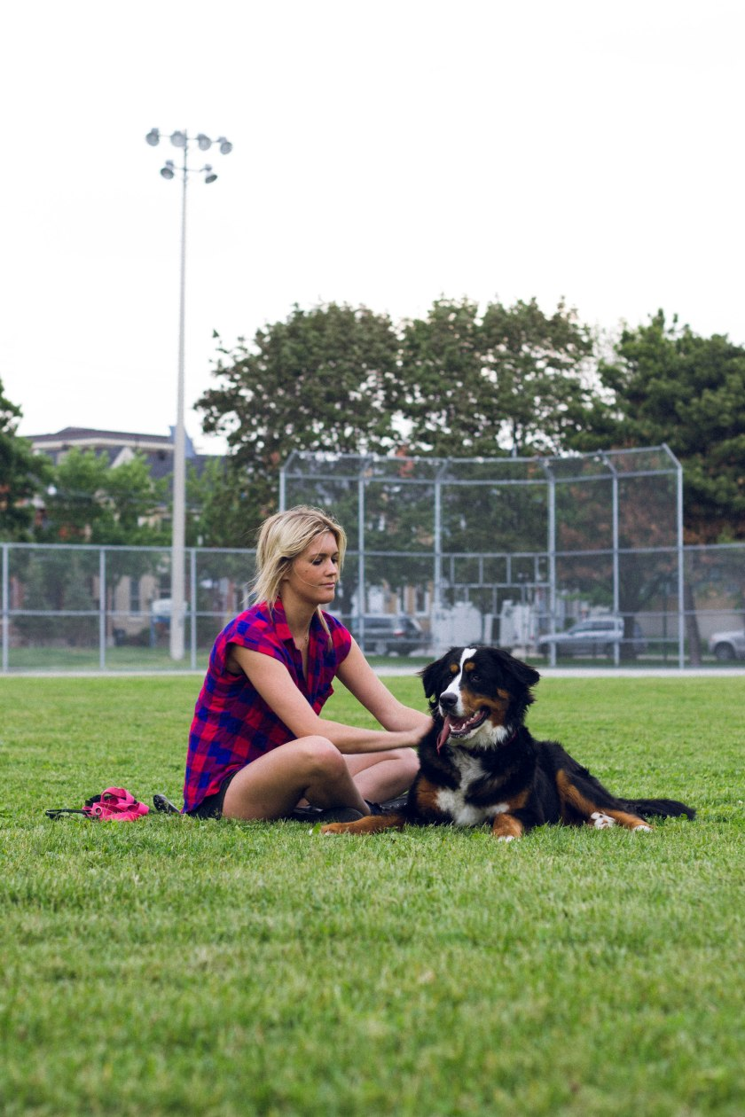 Portrait, Woman, Toronto, King Street, Liberty Village, dog, park