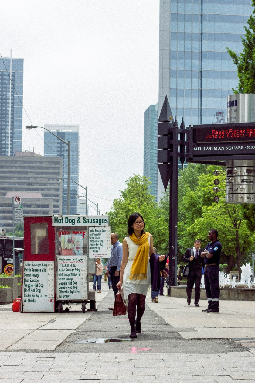 Walk, street, Toronto, north york, hot dog stand, street meat, mel lastman square