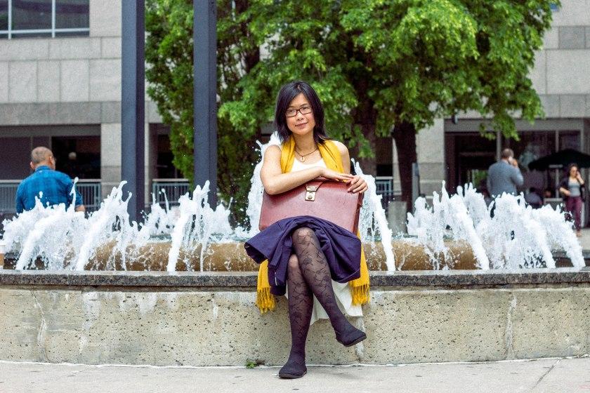 portrait, woman, toronto, symmetry, fountain