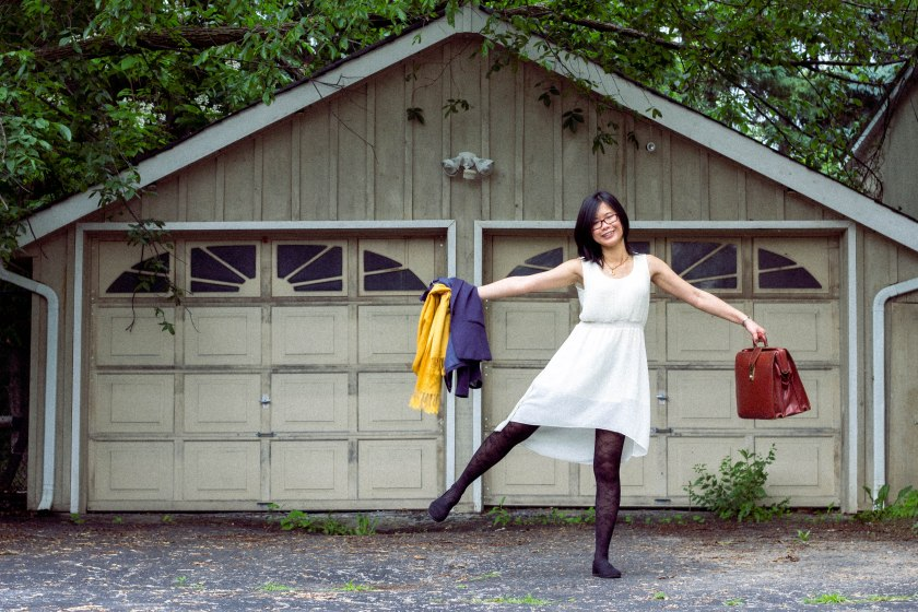 woman, pose, fun, garage, portrait