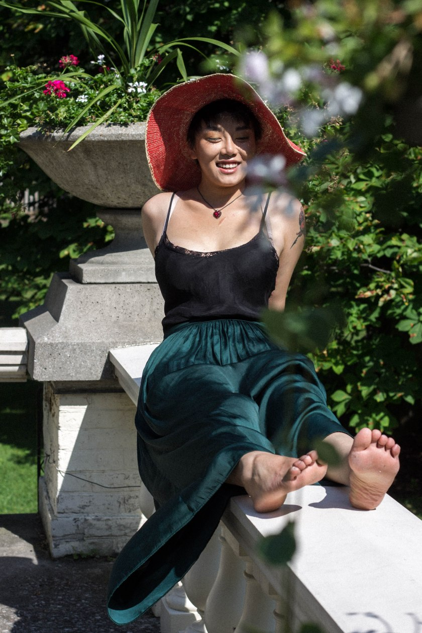 Woman, portrait, hat, smile, model, fashion